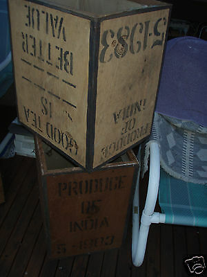 2 Tea Chest Wooden Or Light Wood Old Style Storage Chadstone Melb