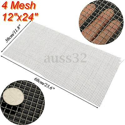 "12x24"" 4 Mesh 304 Stainless Steel Woven Wire Cloth Screen Filter Sheet 30 x 60cm"