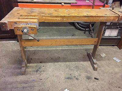 Large Rustic Retro Wooden Vintage Old Carpenters Wood Work bench Vice Industrial
