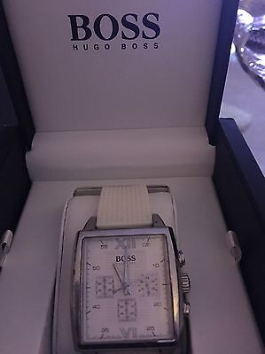 Boss  Men's Watch With White Rubber Strap