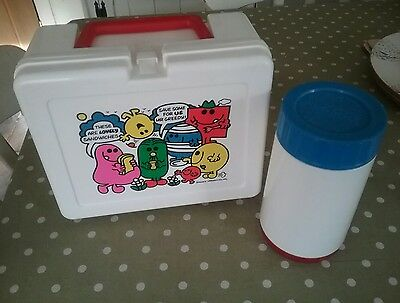 Mr Men Lunch Box & Safety Flask By Bluebird 1980's Vintage