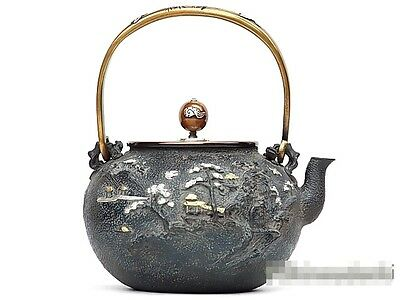 """Rare""Japanese Iron TEA KETTLE Teapot Tetsubin,KIBUNDO made from Japan 2"