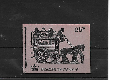 GB 1971 February - Veteran Transport #1 25p Stitched Stamp Booklet - DH39