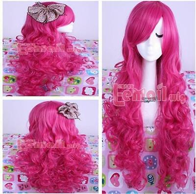 2017 Women Long Curly Rose Pink Wavy Hair Cosplay Full Wig Synthetic