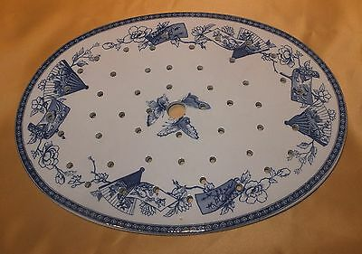 Staffordshire Blue & White Fans & Scrolls Oval Drainer C1860