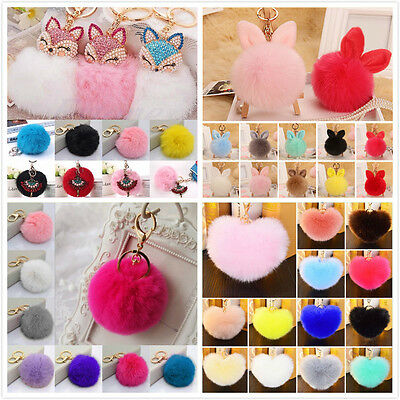 Rabbit Fur Ball PomPom Cell Phone Car Keychain Pendant Hand Bag Charm Key Ring