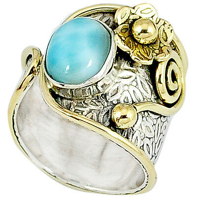 Victorian blue larimar 925 silver two tone adjustable ring band sz 6 k20754