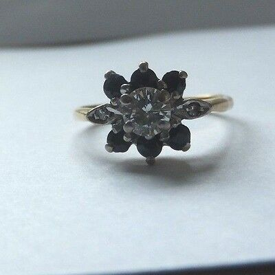 Vintage Sapphire and Diamond Ring 18ct Gold Daisy Cluster