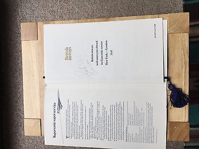 Robin Gibb Bee Gees Signed  Concorde Menu,personally collected