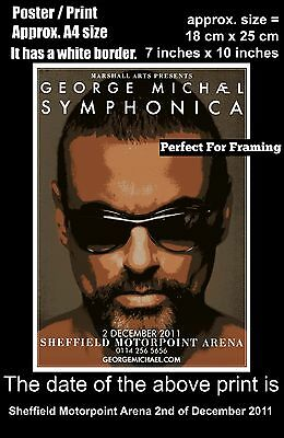 George Michael live Sheffield Motorpoint Arena 2nd December 2011 A4 poster print