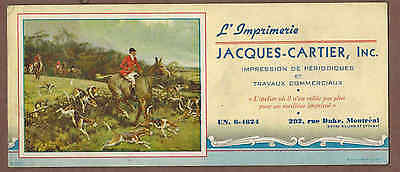 FOX HUNTING, JACQUES-CARTIER INC, MONTREAL:  Scarce CANADIAN Ink Blotter (1930)