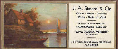 J. A. SIMARD & SONS, MONTREAL, QUEBEC:  Scarce CANADIAN Ink Blotter (1940)T