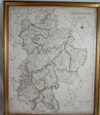 Antique Map of Bedfordshire by John & Charles Walker c. 1850