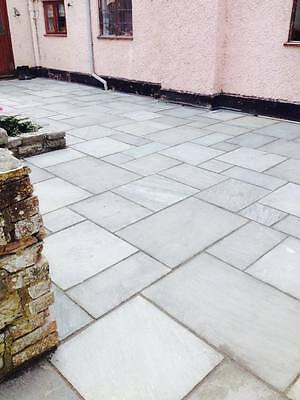 Grey  Indian Sandstone Paving - Natural Stone Patio Flags - Garden Slabs