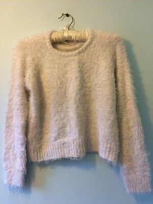 White/off White Tammy Girl Fluffy Girls Cropped Jumper Age 12-13