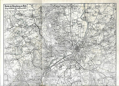 WW1 German Map Metz 1914 Includes Town Map