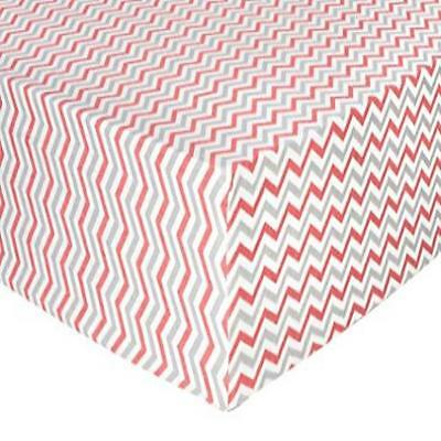 Trend Lab Chevron Deluxe Flannel Fitted Crib Sheet, Coral & Gray Machine Washabl