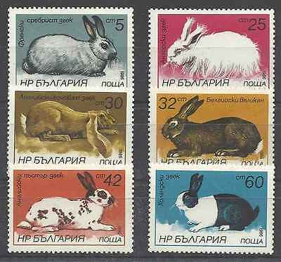 Timbres Animaux Lapins Bulgarie 2993/8 ** lot 2482
