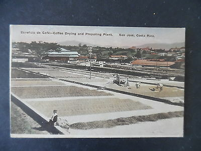 1923 San Jose Costa Rica Drying Coffee Hand Colored View Postcard Used to US