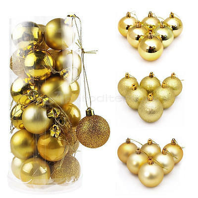 24Pcs Glitter Christmas Balls Baubles Xmas Tree Ornament Christmas Decoration