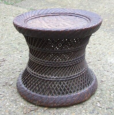 Very Old Wicker Cane Stool / Side Table - Tribal Art Interest