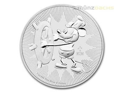 2 $ Dollar Disney Steamboat Willie Mickey Mouse Niue Island 1 oz Silber 2017