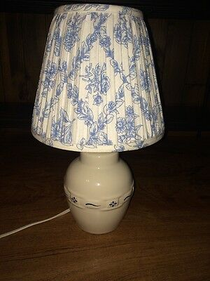 Longaberger Pottery Lamp Heritage BLUE WITH RARE SHADE