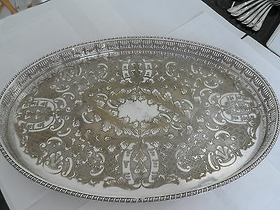 Vintage Silver Plated Pierced Gallery Tray Salver Waiter By Viners  - Gleaming
