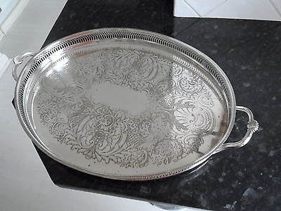 Vintage Large Silver Plate Butlers Gallery Tray  21.5 X 14 Inches Side Handles
