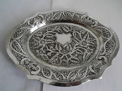 Vintage Indian Silver  Repousse Floral Decorated  Tray Salver Scalloped Edge