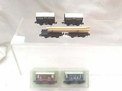 N GAUGE PECO LOT OF 6x WAGONS - LMS/N.E BRAKE VANS / BOLSTERS / CATTLE WAGONS