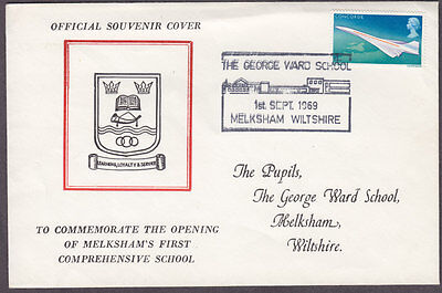 1969 Low Value Concorde Stamp On  Melksham School Special Event Cover
