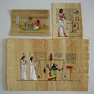 Vintage 1980s Authentic Hand painted Dr. Ragab Institute Papyrus Anubis Egypt