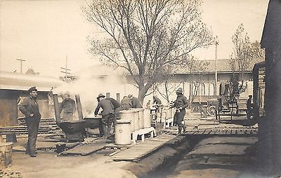 """Military Soldiers Cooking Outside on Grills~Truck~WWI era RPPC """"Carte Postale"""""""