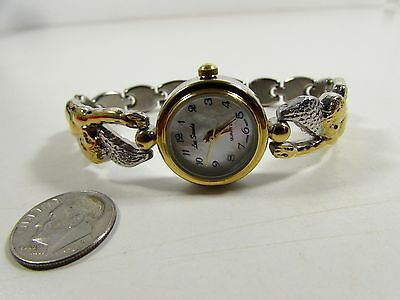 "Lee Sands MOP Watch Face w Floating Angels Contoured Watch Band"" ""VINTAGE"""