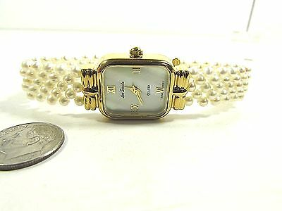 "Lee Sands MOP Watch Face w Satin White Pearls 1/2"" Woven band 7 1/4"" ""VINTAGE"""