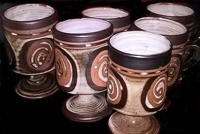 Briglin Pottery ~ Set Of 6 Stem And Footed Cups / Mugs