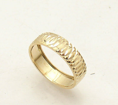 Size 5 Diamond Cut Weddding Band Ring Solid Real 14K Yellow Gold QVC