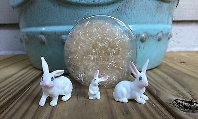 Vintage Miniature Bone China White Rabbit Family Easter Decor Japan Woolworths