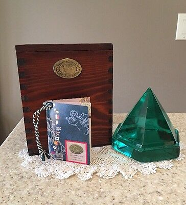 Boat Ship Deck Prism Nautical Green Glass Pyramid 6 Sided In Wooden Box Large