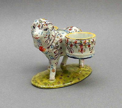 Antique French Faience Figural Sheep Double Salt ~ Desvres Fourmaintraux Freres