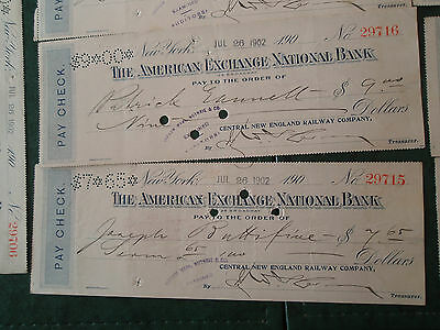1890, 1902 Central New England Railway West Winsted CT payroll checks dividend