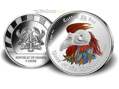 5 Cedis Lunar Tattoo Art Year Rooster High Relief Ghana 1 oz Silver Proof 2017