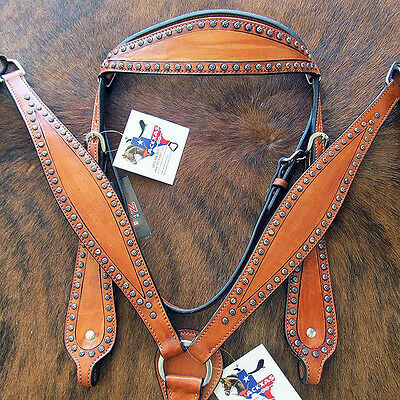 New Hilason Tack Western Leather Horse Tack Bridle Headstall Breast Collar