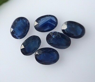 6 Pcs Natural Africa Blue Sapphire Oval Cut 6X4 Mm Gemstone Lot