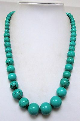 Stunning large vintage turquoise bead necklace