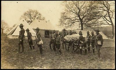 Vintage Real Photo Postcard c1910 - Boy Scouts With Cart on Manouvres - RP