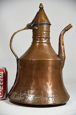 "Antique Copper Coffee Ewer Pitcher Pot 14"" Middle East Turkish Ottoman Display"