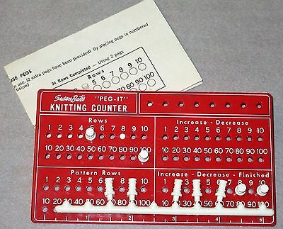 Vintage Susan Bates Peg-It Knitting Counter With 9 Pegs & instructions
