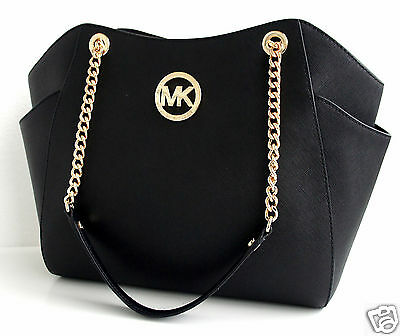 Michael Kors Tasche/Bag JET SET TRAVEL LG CHAIN SHLDR  HOBO SAFFIANO BLACK NEU!